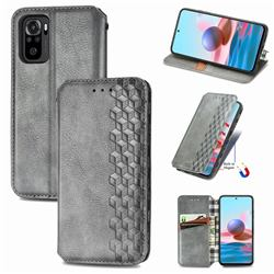 Ultra Slim Fashion Business Card Magnetic Automatic Suction Leather Flip Cover for Xiaomi Redmi Note 10 4G / Redmi Note 10S - Grey