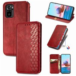 Ultra Slim Fashion Business Card Magnetic Automatic Suction Leather Flip Cover for Xiaomi Redmi Note 10 4G / Redmi Note 10S - Red