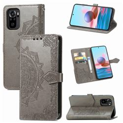 Embossing Imprint Mandala Flower Leather Wallet Case for Xiaomi Redmi Note 10 4G / Redmi Note 10S - Gray