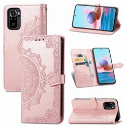 Embossing Imprint Mandala Flower Leather Wallet Case for Xiaomi Redmi Note 10 4G / Redmi Note 10S - Rose Gold