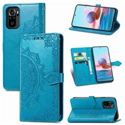 Embossing Imprint Mandala Flower Leather Wallet Case for Xiaomi Redmi Note 10 4G / Redmi Note 10S - Blue