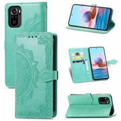 Embossing Imprint Mandala Flower Leather Wallet Case for Xiaomi Redmi Note 10 4G / Redmi Note 10S - Green
