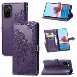 Embossing Imprint Mandala Flower Leather Wallet Case for Xiaomi Redmi Note 10 4G / Redmi Note 10S - Purple