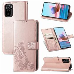 Embossing Imprint Four-Leaf Clover Leather Wallet Case for Xiaomi Redmi Note 10 4G / Redmi Note 10S - Rose Gold