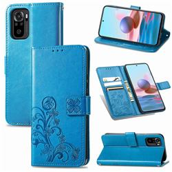 Embossing Imprint Four-Leaf Clover Leather Wallet Case for Xiaomi Redmi Note 10 4G / Redmi Note 10S - Blue