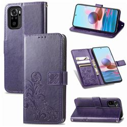 Embossing Imprint Four-Leaf Clover Leather Wallet Case for Xiaomi Redmi Note 10 4G / Redmi Note 10S - Purple