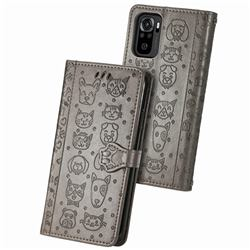 Embossing Dog Paw Kitten and Puppy Leather Wallet Case for Xiaomi Redmi Note 10 4G / Redmi Note 10S - Gray