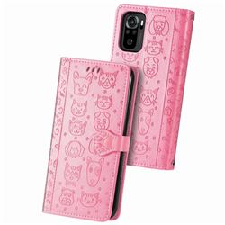 Embossing Dog Paw Kitten and Puppy Leather Wallet Case for Xiaomi Redmi Note 10 4G / Redmi Note 10S - Pink