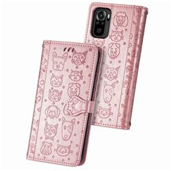 Embossing Dog Paw Kitten and Puppy Leather Wallet Case for Xiaomi Redmi Note 10 4G / Redmi Note 10S - Rose Gold