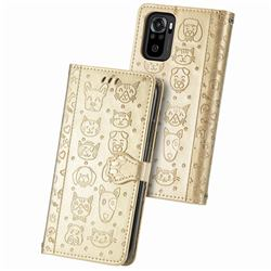 Embossing Dog Paw Kitten and Puppy Leather Wallet Case for Xiaomi Redmi Note 10 4G / Redmi Note 10S - Champagne Gold