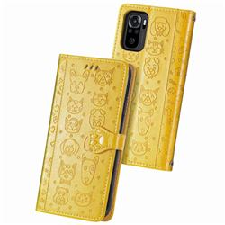 Embossing Dog Paw Kitten and Puppy Leather Wallet Case for Xiaomi Redmi Note 10 4G / Redmi Note 10S - Yellow