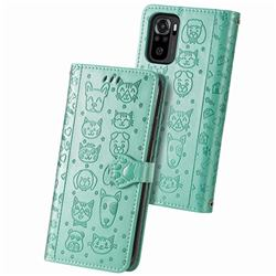 Embossing Dog Paw Kitten and Puppy Leather Wallet Case for Xiaomi Redmi Note 10 4G / Redmi Note 10S - Green
