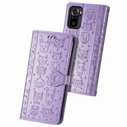 Embossing Dog Paw Kitten and Puppy Leather Wallet Case for Xiaomi Redmi Note 10 4G / Redmi Note 10S - Purple