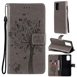 Embossing Butterfly Tree Leather Wallet Case for Xiaomi Redmi Note 10 4G / Redmi Note 10S - Grey