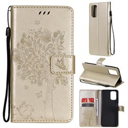 Embossing Butterfly Tree Leather Wallet Case for Xiaomi Redmi Note 10 4G / Redmi Note 10S - Champagne
