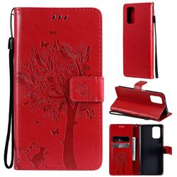 Embossing Butterfly Tree Leather Wallet Case for Xiaomi Redmi Note 10 4G / Redmi Note 10S - Red