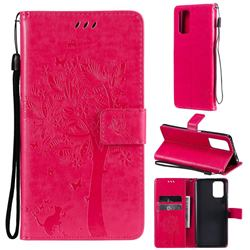 Embossing Butterfly Tree Leather Wallet Case for Xiaomi Redmi Note 10 4G / Redmi Note 10S - Rose