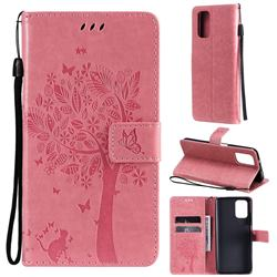 Embossing Butterfly Tree Leather Wallet Case for Xiaomi Redmi Note 10 4G / Redmi Note 10S - Pink