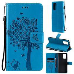 Embossing Butterfly Tree Leather Wallet Case for Xiaomi Redmi Note 10 4G / Redmi Note 10S - Blue