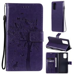 Embossing Butterfly Tree Leather Wallet Case for Xiaomi Redmi Note 10 4G / Redmi Note 10S - Purple