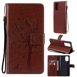 Embossing Butterfly Tree Leather Wallet Case for Xiaomi Redmi Note 10 4G / Redmi Note 10S - Coffee