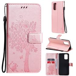 Embossing Butterfly Tree Leather Wallet Case for Xiaomi Redmi Note 10 4G / Redmi Note 10S - Rose Pink