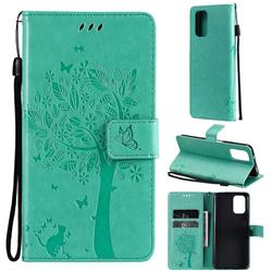 Embossing Butterfly Tree Leather Wallet Case for Xiaomi Redmi Note 10 4G / Redmi Note 10S - Cyan