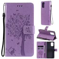 Embossing Butterfly Tree Leather Wallet Case for Xiaomi Redmi Note 10 4G / Redmi Note 10S - Violet