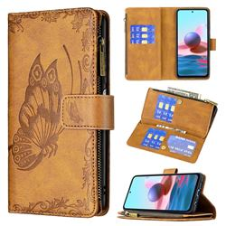 Binfen Color Imprint Vivid Butterfly Buckle Zipper Multi-function Leather Phone Wallet for Xiaomi Redmi Note 10 4G / Redmi Note 10S - Brown