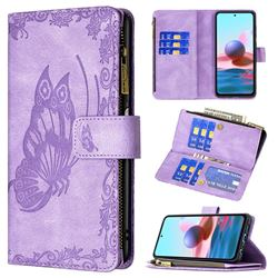 Binfen Color Imprint Vivid Butterfly Buckle Zipper Multi-function Leather Phone Wallet for Xiaomi Redmi Note 10 4G / Redmi Note 10S - Purple