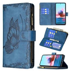 Binfen Color Imprint Vivid Butterfly Buckle Zipper Multi-function Leather Phone Wallet for Xiaomi Redmi Note 10 4G / Redmi Note 10S - Blue