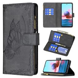 Binfen Color Imprint Vivid Butterfly Buckle Zipper Multi-function Leather Phone Wallet for Xiaomi Redmi Note 10 4G / Redmi Note 10S - Black