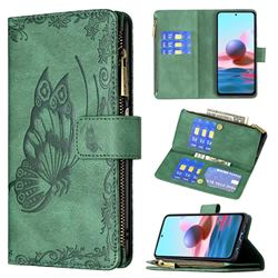 Binfen Color Imprint Vivid Butterfly Buckle Zipper Multi-function Leather Phone Wallet for Xiaomi Redmi Note 10 4G / Redmi Note 10S - Green