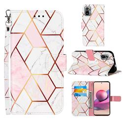 Pink White Stitching Color Marble Leather Wallet Case for Xiaomi Redmi Note 10 4G / Redmi Note 10S