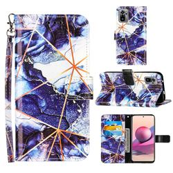 Starry Blue Stitching Color Marble Leather Wallet Case for Xiaomi Redmi Note 10 4G / Redmi Note 10S