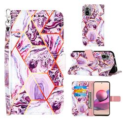 Dream Purple Stitching Color Marble Leather Wallet Case for Xiaomi Redmi Note 10 4G / Redmi Note 10S