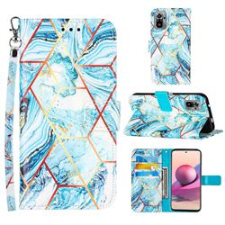 Lake Blue Stitching Color Marble Leather Wallet Case for Xiaomi Redmi Note 10 4G / Redmi Note 10S