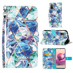 Green and Blue Stitching Color Marble Leather Wallet Case for Xiaomi Redmi Note 10 4G / Redmi Note 10S