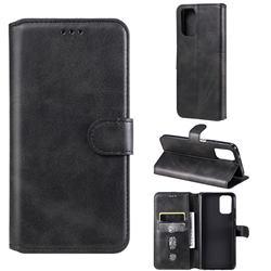 Retro Calf Matte Leather Wallet Phone Case for Xiaomi Redmi Note 10 4G / Redmi Note 10S - Black