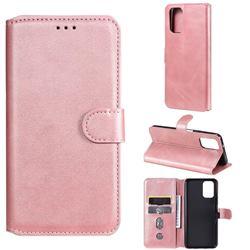 Retro Calf Matte Leather Wallet Phone Case for Xiaomi Redmi Note 10 4G / Redmi Note 10S - Pink