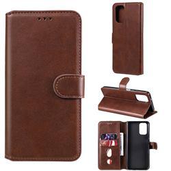 Retro Calf Matte Leather Wallet Phone Case for Xiaomi Redmi Note 10 4G / Redmi Note 10S - Brown