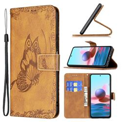 Binfen Color Imprint Vivid Butterfly Leather Wallet Case for Xiaomi Redmi Note 10 4G / Redmi Note 10S - Brown