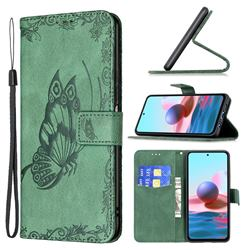 Binfen Color Imprint Vivid Butterfly Leather Wallet Case for Xiaomi Redmi Note 10 4G / Redmi Note 10S - Green