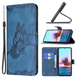 Binfen Color Imprint Vivid Butterfly Leather Wallet Case for Xiaomi Redmi Note 10 4G / Redmi Note 10S - Blue