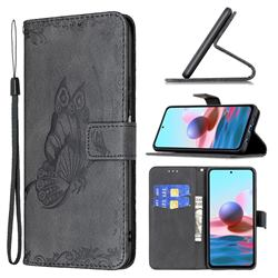 Binfen Color Imprint Vivid Butterfly Leather Wallet Case for Xiaomi Redmi Note 10 4G / Redmi Note 10S - Black