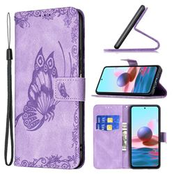 Binfen Color Imprint Vivid Butterfly Leather Wallet Case for Xiaomi Redmi Note 10 4G / Redmi Note 10S - Purple