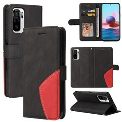 Luxury Two-color Stitching Leather Wallet Case Cover for Xiaomi Redmi Note 10 4G / Redmi Note 10S - Black