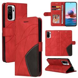 Luxury Two-color Stitching Leather Wallet Case Cover for Xiaomi Redmi Note 10 4G / Redmi Note 10S - Red