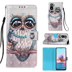 Sweet Gray Owl 3D Painted Leather Wallet Case for Xiaomi Redmi Note 10 4G / Redmi Note 10S