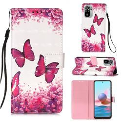 Rose Butterfly 3D Painted Leather Wallet Case for Xiaomi Redmi Note 10 4G / Redmi Note 10S